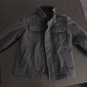 Boys grey wool pea coat